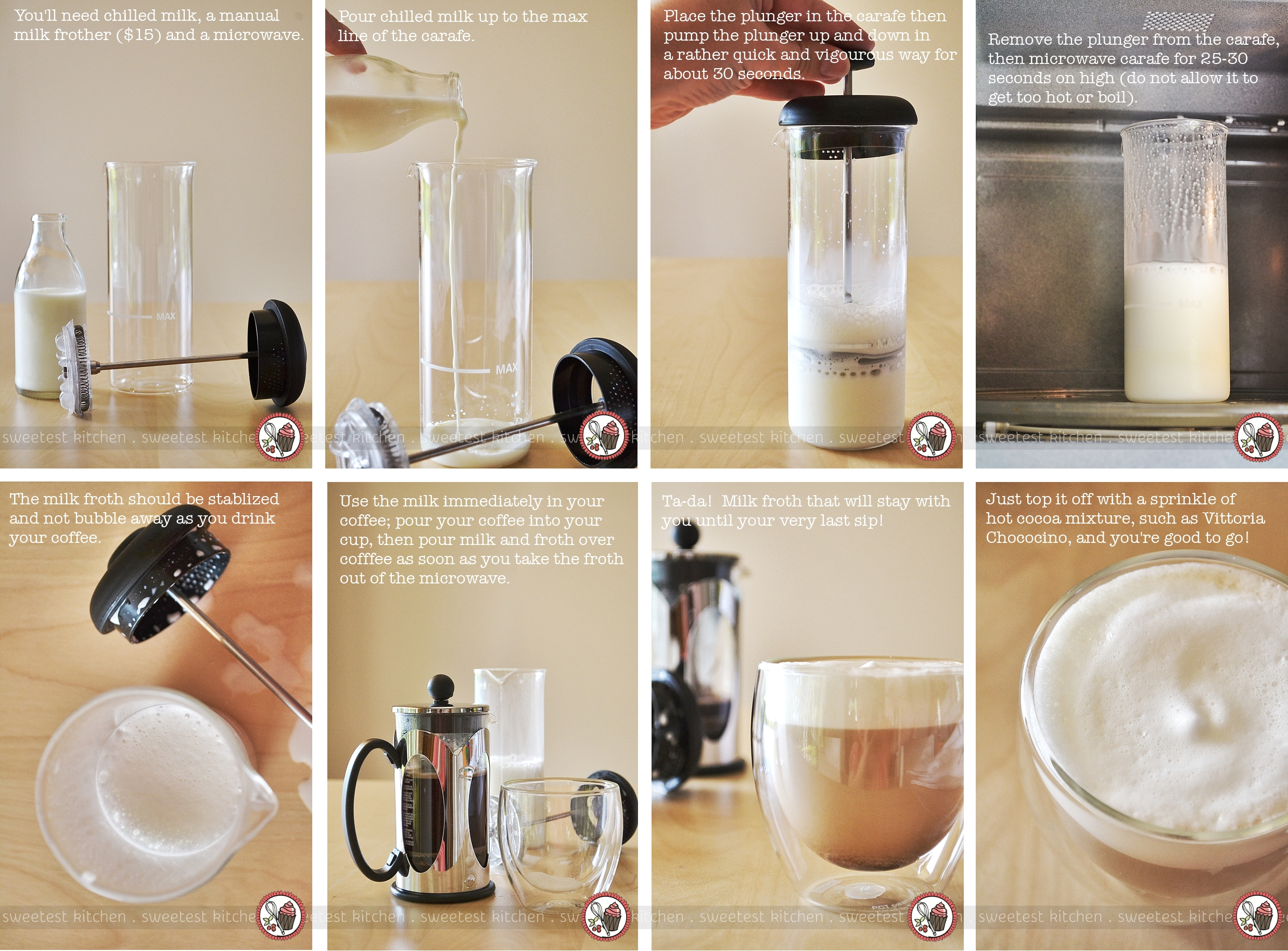 Froth milk with a french press foodbeverages pinterest